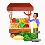 蔬菜和水果逆摊位的产品卖主 皇族释放例证