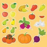 蔬菜和水果,集合 皇族释放例证