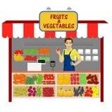 蔬菜和水果购物与年轻人卖主 皇族释放例证