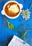 蔬菜汤和叶子,花,在蓝色的茶巾,上面竞争 库存图片