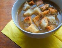 蔬菜汤特写镜头用油煎方型小面包片 库存照片