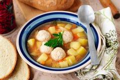 蔬菜汤用鸡丸子 库存图片