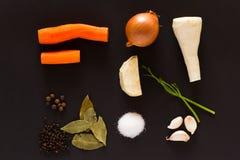 蔬菜汤的成份 免版税库存图片