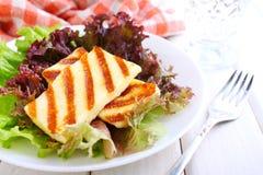 蔬菜沙拉用油煎的halloumi乳酪 免版税库存图片