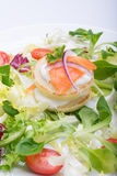 蔬菜沙拉用以心脏的形式鸡蛋,三文鱼,西红柿 免版税图库摄影