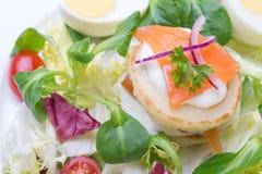 蔬菜沙拉用以心脏的形式鸡蛋,三文鱼,西红柿 库存照片