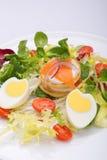 蔬菜沙拉用以心脏的形式鸡蛋,三文鱼,西红柿 免版税库存图片