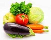 蔬菜茄子蕃茄圆白菜 免版税库存照片
