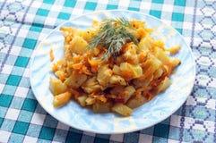 蔬菜菜肴混杂的菜,亚洲和印地安食谱、夏南瓜、红萝卜、葱,土豆,热和辣,服务 免版税库存照片