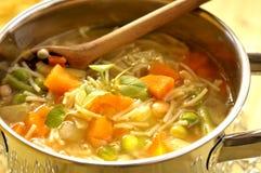 蔬菜通心粉汤罐汤 库存照片