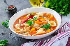 蔬菜通心粉汤,与面团的意大利蔬菜汤 免版税图库摄影