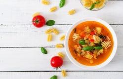 蔬菜通心粉汤,与面团的意大利蔬菜汤 库存图片