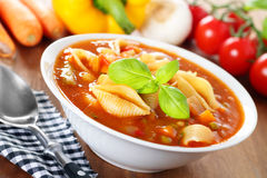 蔬菜通心粉汤-与素食者的意大利汤 库存图片