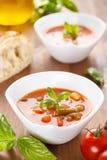蔬菜通心粉汤-与素食者的意大利汤 库存照片