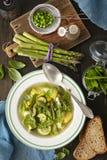 蔬菜通心粉汤-意大利菜汤用芦笋 免版税库存图片