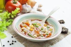 蔬菜通心粉汤 免版税库存图片