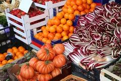 蔬菜水果商摊位用蕃茄拉迪基奥桔子和全部  库存照片