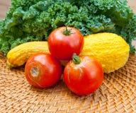 蕃茄、南瓜和无头甘蓝圆白菜源于地方庭院 免版税库存图片