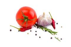 蕃茄、大蒜、辣椒和迷迭香 库存照片
