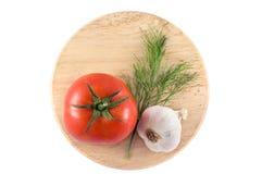 蕃茄、大蒜和莳萝 免版税图库摄影