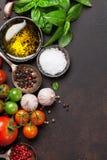 蕃茄、蓬蒿、橄榄油和香料 免版税库存图片