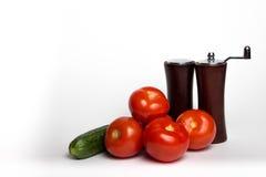 蕃茄、黄瓜和香料 库存照片
