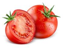 蕃茄。整体和在白色隔绝的一半 免版税库存照片