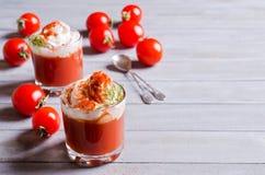 蕃茄和奶油开胃菜  免版税库存照片