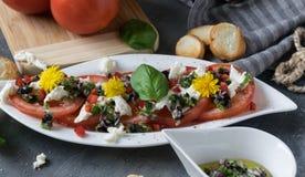 蕃茄和无盐干酪新鲜的沙拉  与橄榄油的食谱用红洋葱、橄榄和蓬蒿 免版税库存照片