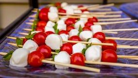 蕃茄和无盐干酪Caprese串 库存照片