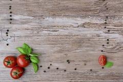 蕃茄和胡椒在小组,作为框架的部分 免版税图库摄影