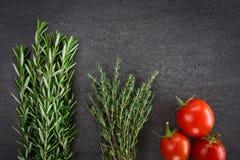蕃茄和草本 免版税库存照片