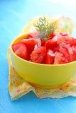 蕃茄和葱沙拉,穿戴 免版税库存照片