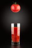 蕃茄和西红柿汁在雕琢平面的一块透明玻璃 免版税图库摄影