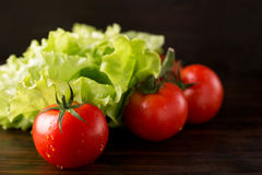 蕃茄和莴苣 库存图片