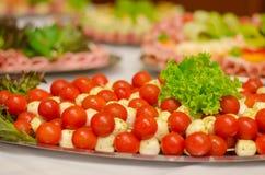 蕃茄和mozarella沙拉 免版税库存照片
