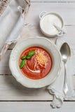 蕃茄汤用乳酪、蓬蒿和奶油 图库摄影