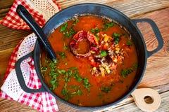 蕃茄汤用豆、玉米、菜和肉末 免版税库存图片