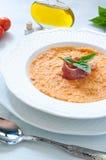 蕃茄汤用面包、大蒜、油、盐和胡椒 免版税库存图片