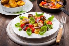蕃茄沙拉用烤乳酪和被烘烤的土豆 免版税库存图片