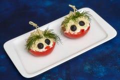 蕃茄用乳酪和莳萝 开玩笑菜单 免版税库存图片