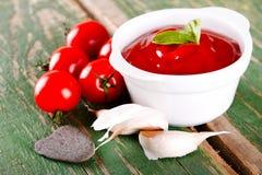 蕃茄用大蒜和番茄酱在绿色委员会 图库摄影