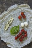 蕃茄用无盐干酪和蓬蒿 库存照片