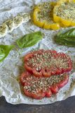 蕃茄用无盐干酪和蓬蒿 免版税库存图片