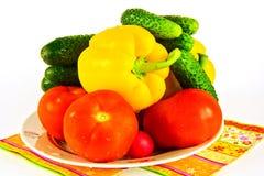 蕃茄用黄瓜和胡椒在一块板材在一白色backgro 库存照片