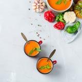 蕃茄胡椒汤gazpacho用大蒜 免版税图库摄影