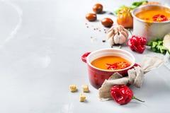 蕃茄胡椒汤gazpacho用大蒜 库存图片