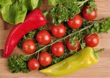蕃茄,红色和黄色胡椒,在木背景的荷兰芹 库存照片