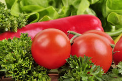 蕃茄,红色和黄色胡椒,在木背景的荷兰芹 图库摄影