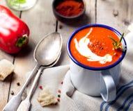 蕃茄,红辣椒汤,调味汁用迷迭香 库存图片